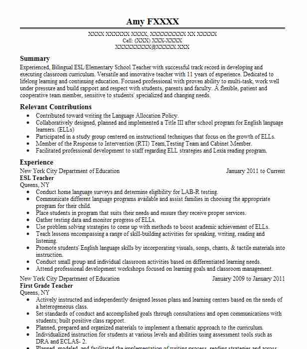 ESL Teacher Resume Example VIPKID (Vipkid.Net