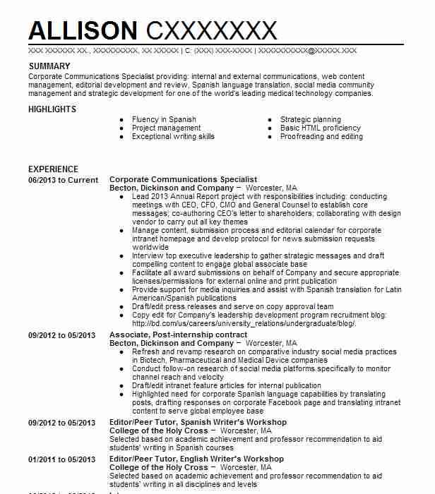 corporate communications specialist resume sample