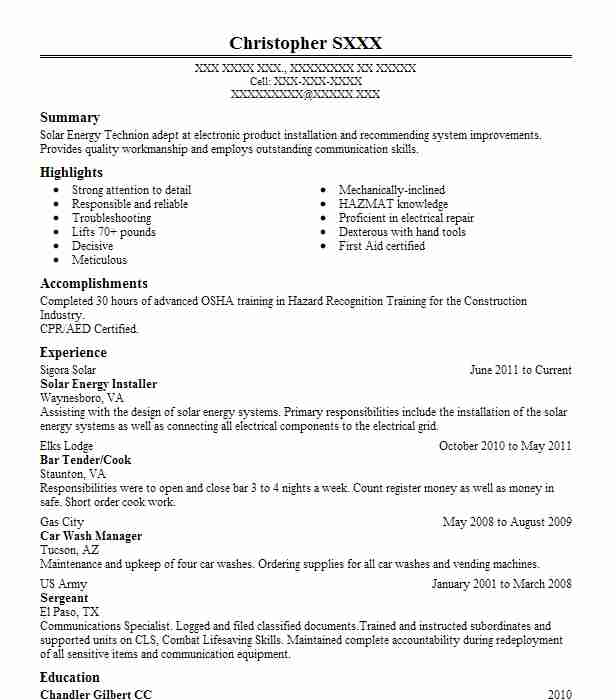 Solar Energy Installer Resume Sample | Installer Resumes | LiveCareer