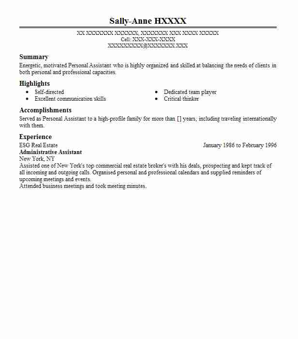 administrative assistant esg real estate - Real Estate Personal Assistant Sample Resume