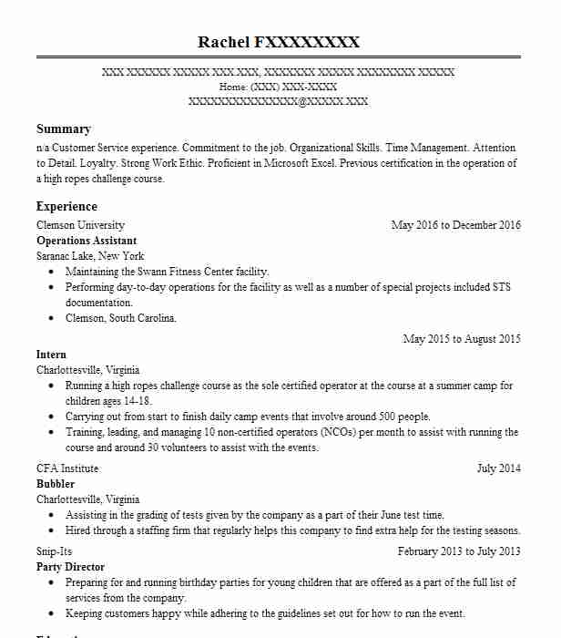 operations assistant resume sample livecareer