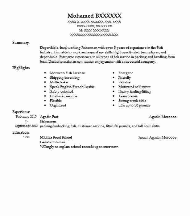 Awesome Fishermen Idea Fishing Resume