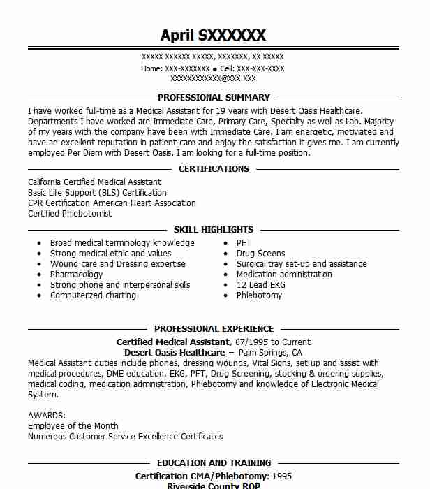 Certified Medical Assistant Resume Example Desert Oasis Healthcare