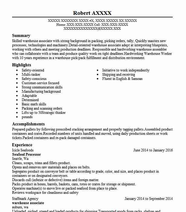 seafood processor resume sample