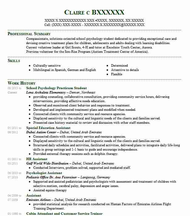 School Psychology Practicum Student Resume Example Lena ...