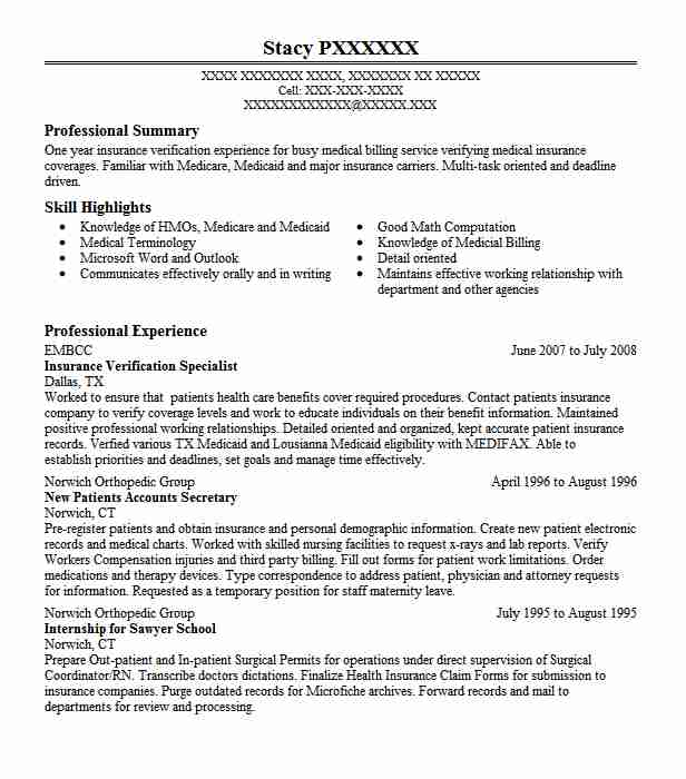 insurance verification specialist resume sample