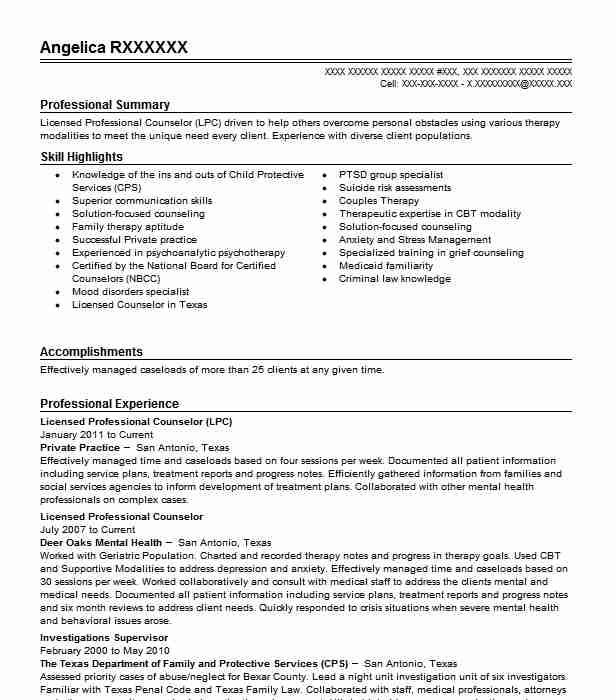 Licensed Professional Counselor Resume Example Private