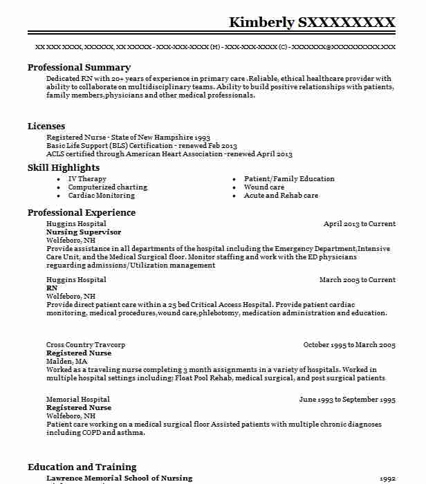 Nursing Supervisor Resume Example (Huggins Hospital) - Conway, New ...