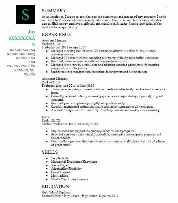 Assistant Manager  Baker Resume