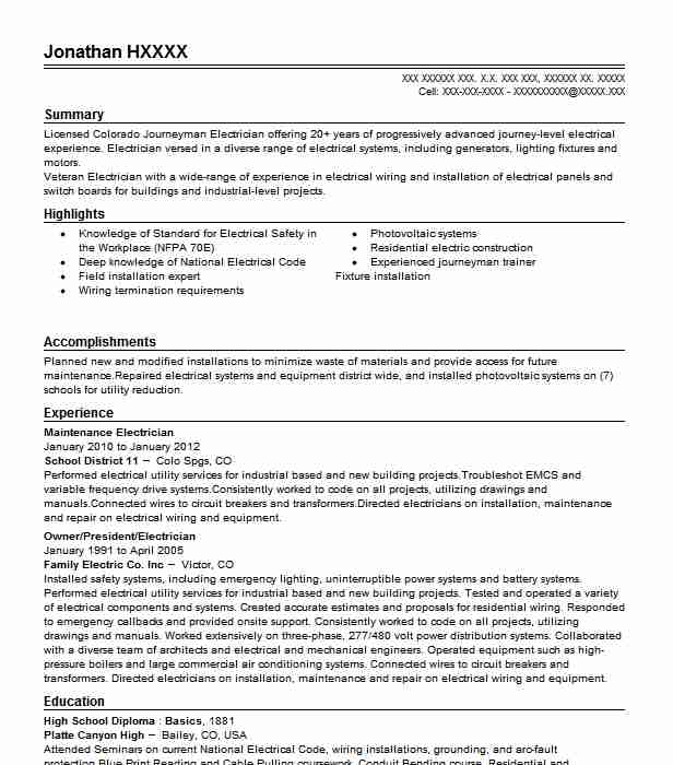 maintenance electrician - Maintenance Electrician Resume