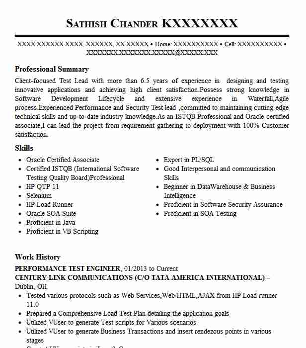 Performance Test Engineer Resume Sample Livecareer