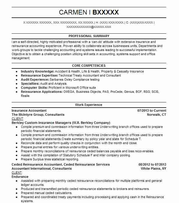Insurance Accountant Resume Example The Mcintyre Group ...