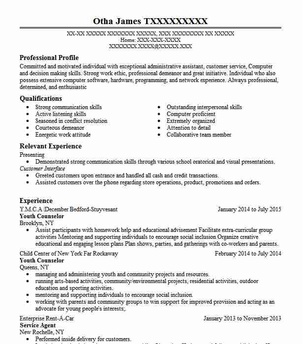youth counselor resume sample