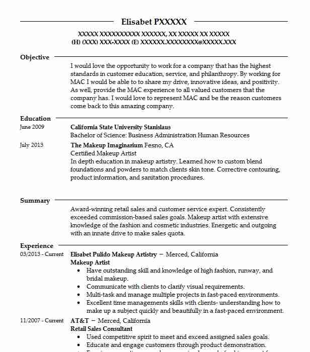 makeup artist resume objective