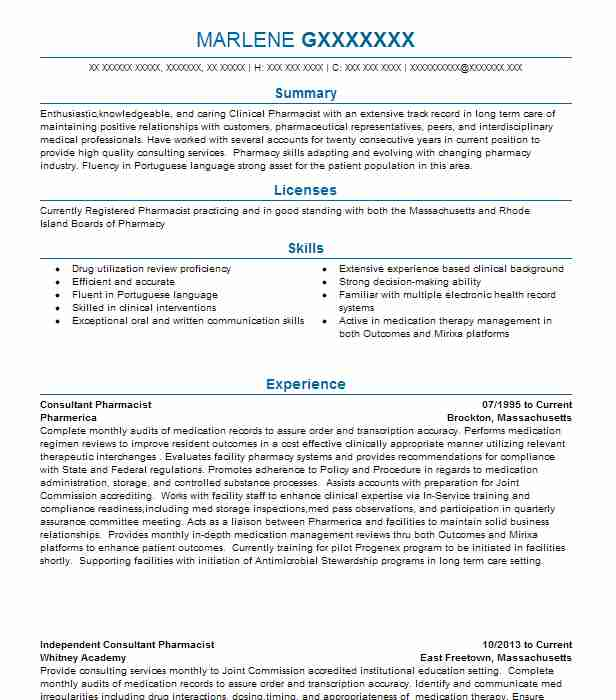 consultant pharmacist resume example ppd
