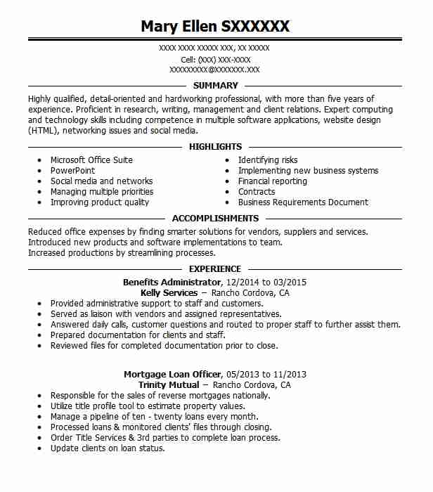 Professional Affiliations On Resumes: Benefits Administrator Resume Sample