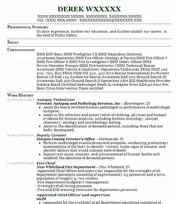 Autopsy Assistant Resume Example Genesee County Medical ...