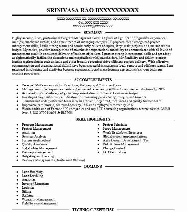 principal service delivery manager resume example oracle