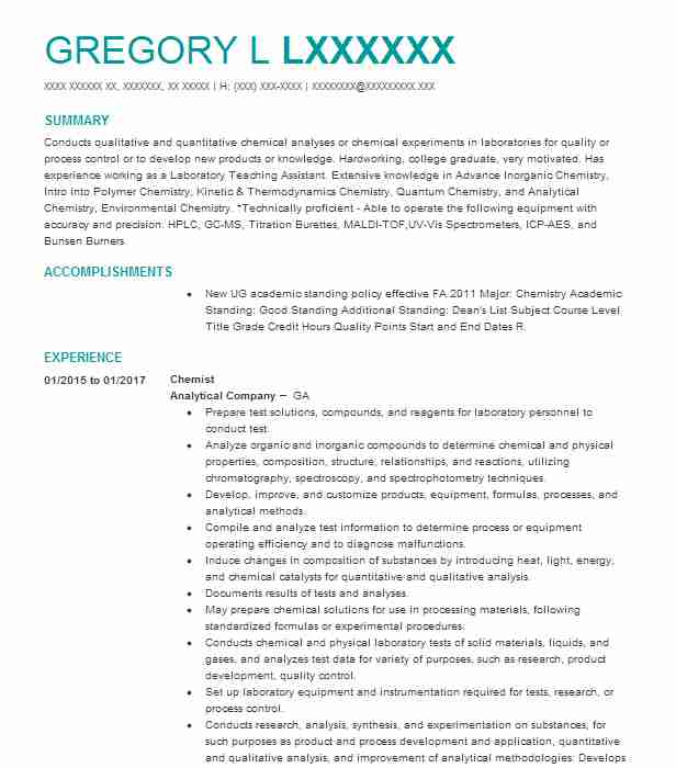 best chemist resume example