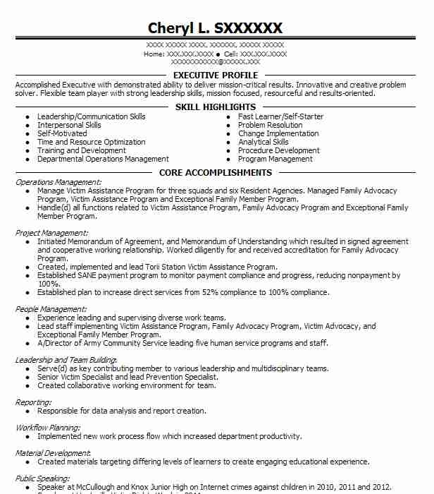 victim specialist resume sample