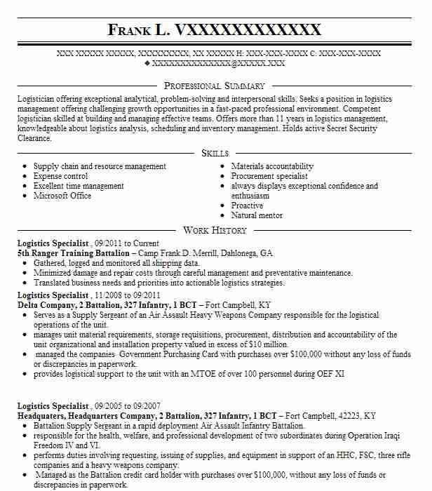 Military to civilian resume examples enchanting military logistician resume logistics manager cv template example job logistician resume yelopaper Gallery