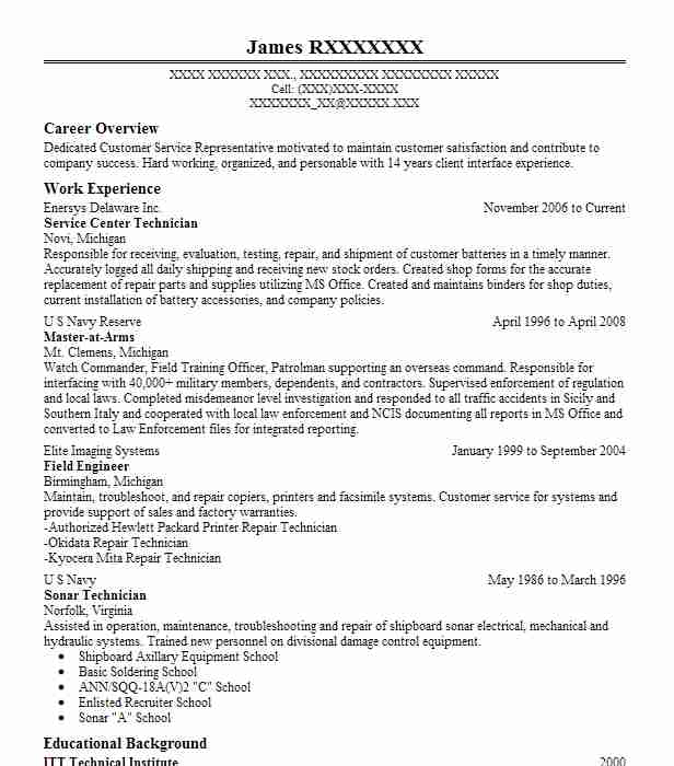 Free Sample Resume For Electronics Technician: Best Service Center Technician Resume Example