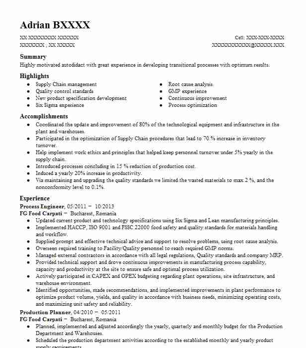 Process Engineer Resume Sample