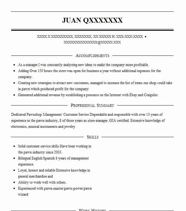 Pawnshop Resume Example First Cash Financial Services Greenbelt Maryland