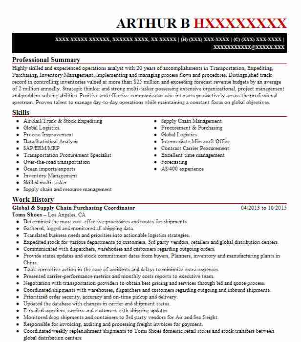 purchasing and supply management specialist resume example