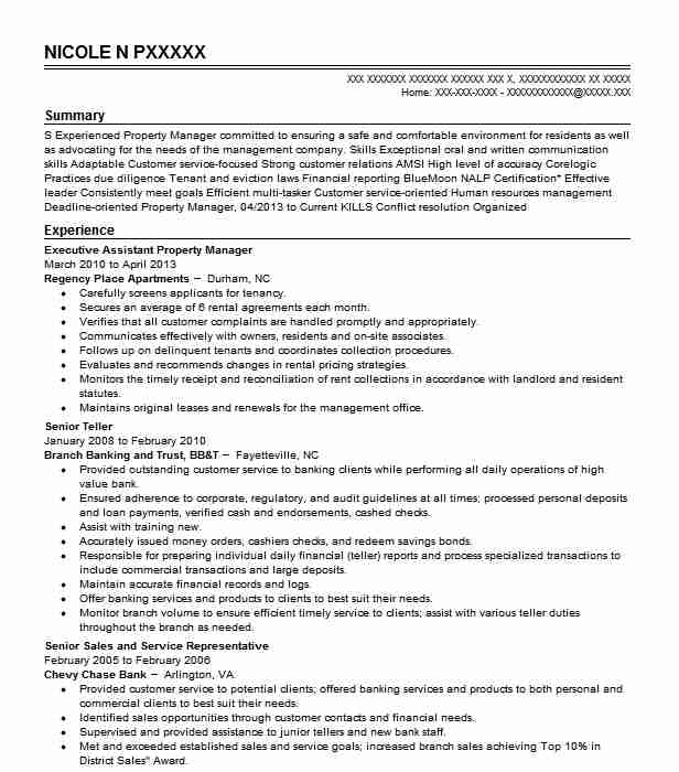 Executive Assistant Property Manager Resume Example Regency Place