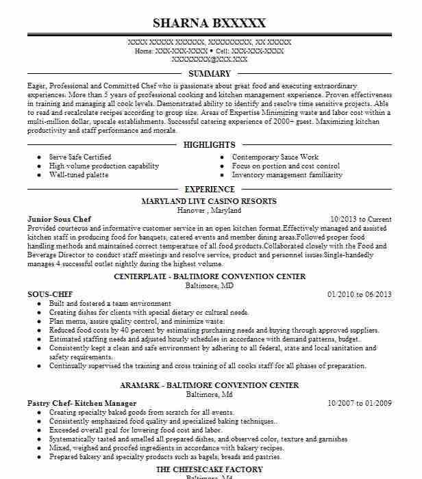 junior sous chef resume sample