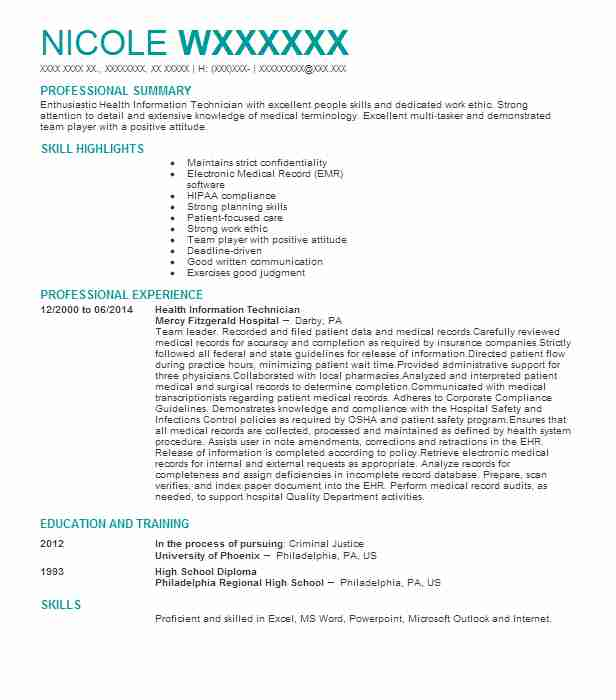 13 Clinical Experience On Resume: Health Information Technician Resume Sample
