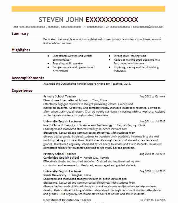 Primary School Teacher Resume Sample Teacher Resumes