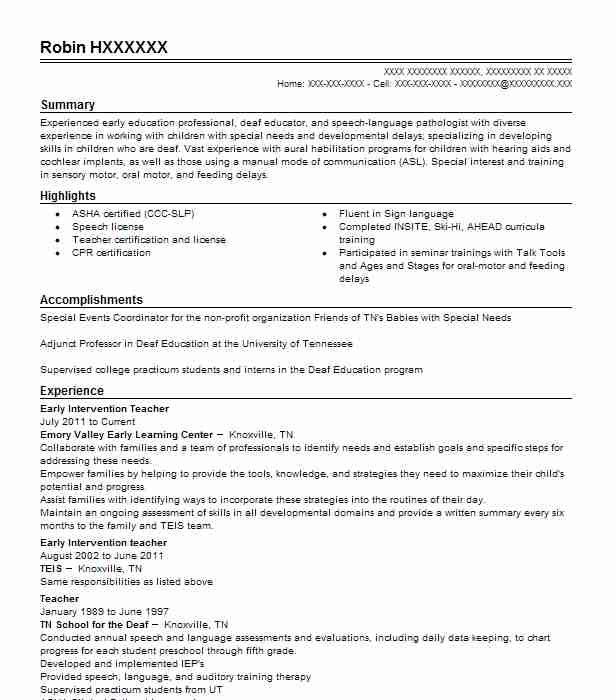 early intervention teacher resume sample