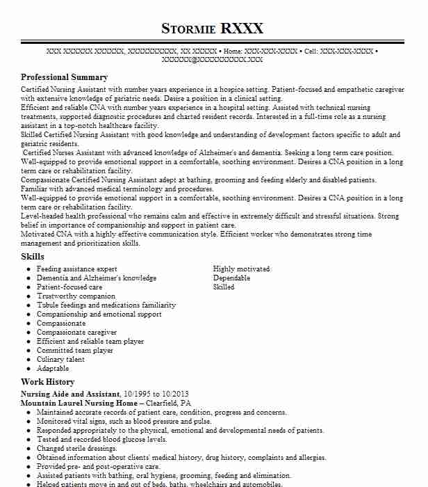 Nursing Aide And Assistant Objectives | Resume Objective | LiveCareer