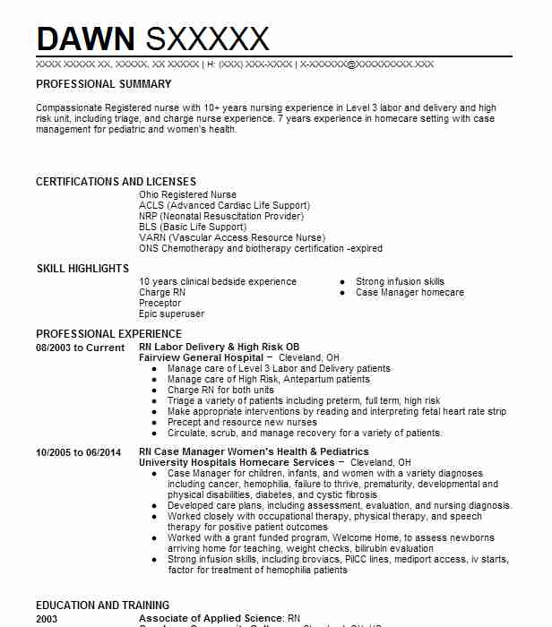 Rn Labor Delivery High Risk Ob Resume Example Fairview