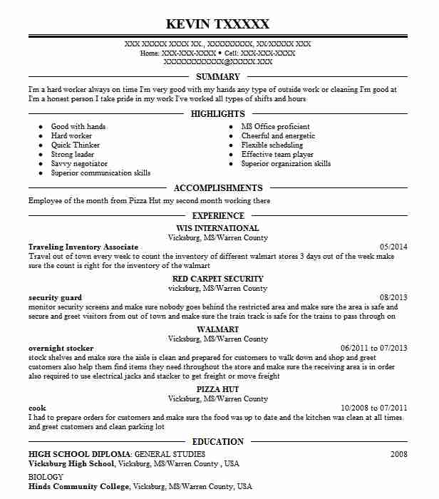 Best Traveling Inventory Associate Resume Example
