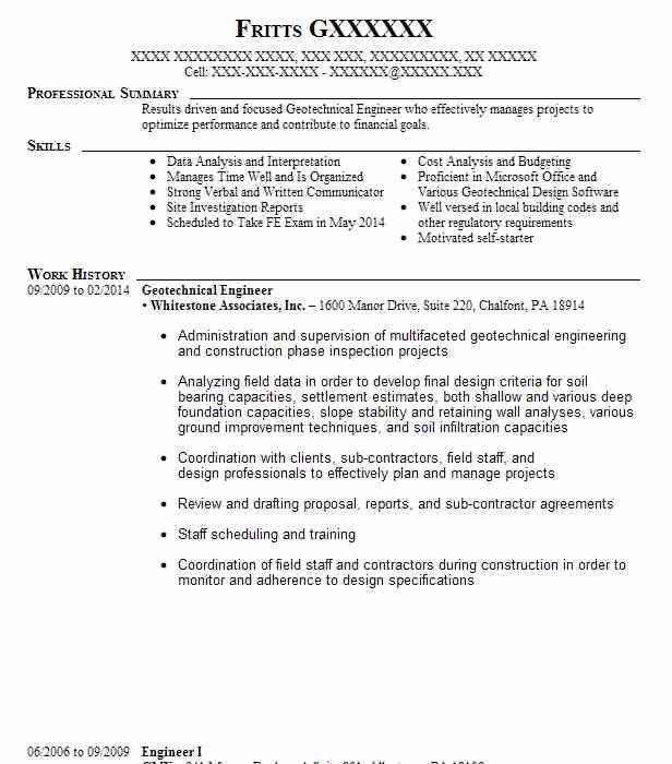 geotechnical engineer resume sample