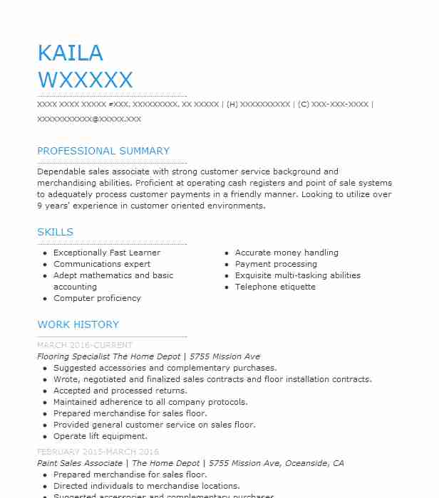 flooring specialist resume example the home depot