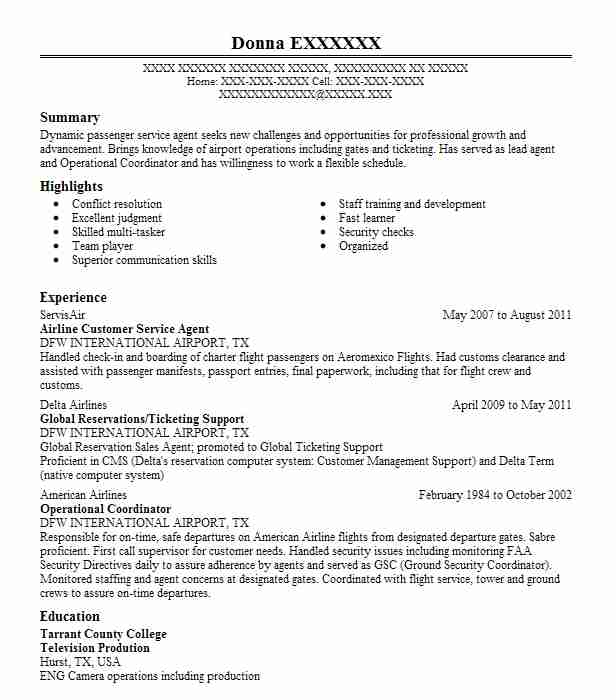 airline customer service agent resume sample