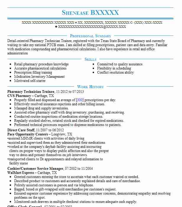 pharmacy technician trainee resume example cvs pharmacy longview