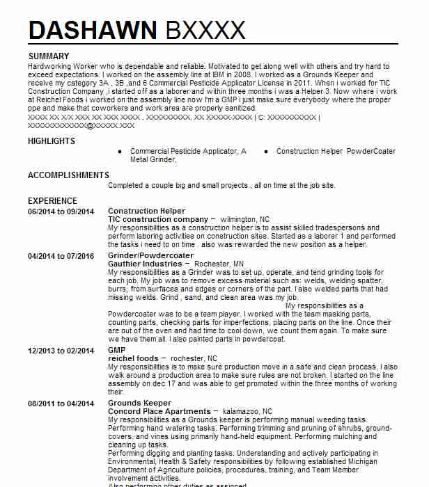 Construction Helper Resume Example Save A Lot Washington