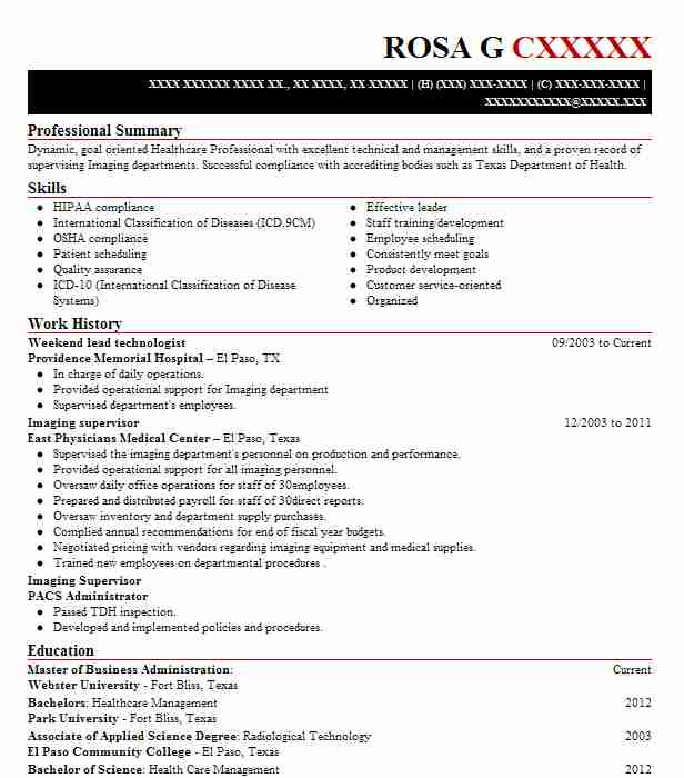Nice Weekend Lead Technologist  Healthcare Management Resume