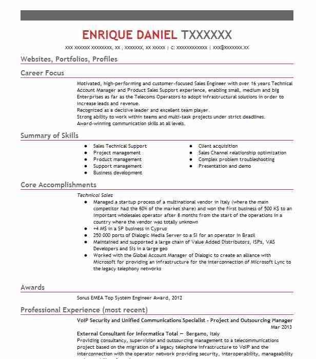 cisco unified communications engineer resume example