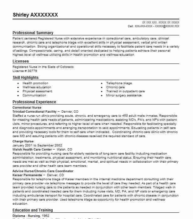 correctional nurse resume sample