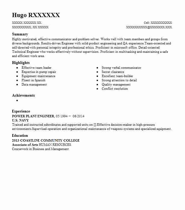 power plant engineer resume sample
