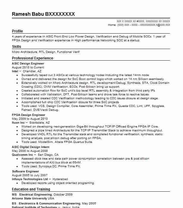 Asic Design Engineer Resume Sample | Engineering Resumes | LiveCareer