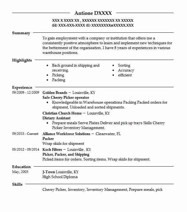 Best picker and packer resume example livecareer for Pick packer cover letter