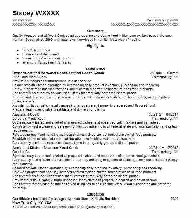Holistic Health Coach And Body Mind Healer Resume Example