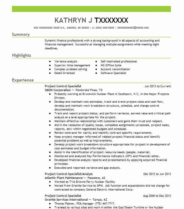 project control specialist resume sample